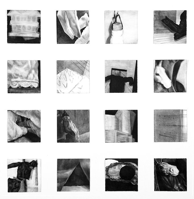 This Same House Series of 16 charcoal drawings on paper by Robyn Frances