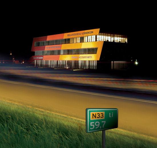 N33-zijde bij nacht