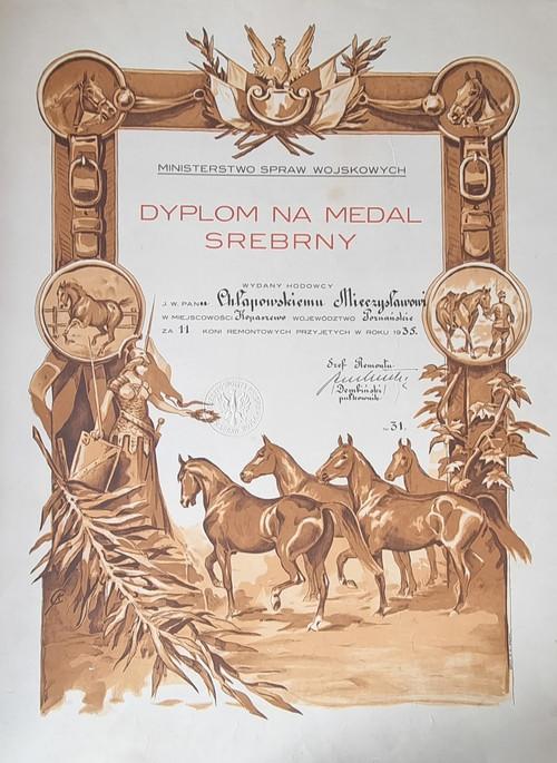 Dyplom na medal srebry dla Mieczysława Chłapowskiego