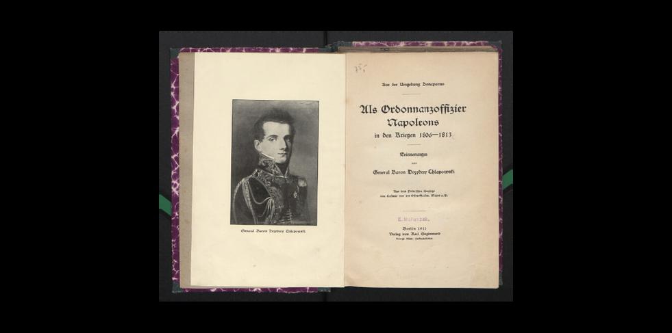 """Strona tytułowa """"Als Ordonnanzoffizier Napoleons in den Kriegen 1806-1813 : Erinnerungen"""" z 1910 r."""
