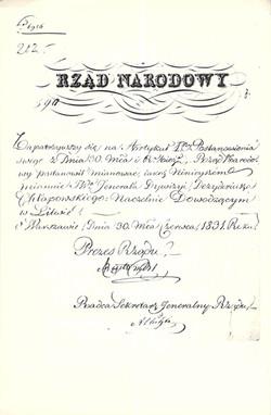 Nominacja Dezyderego Chłapowskiego na naczelnego wodza powstania na Litwie, 1831, Biblioteka Uniwersytetu Warszawskiego, sygn. 566 (Wyprawa na Litwę), f. 10