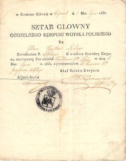 Pismo dowódcy Sztabu Korpusu Wojsk Polskich gen. D. Chłapowskiego