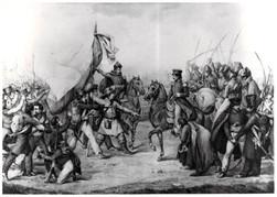 Oddziały Dezyderego Chłapowskiego łączą się z powstańcami litewskimi w 1831 roku, grafika Ludwiga de Benarda, zbiory Emiliana Prałata