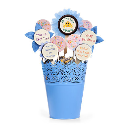All the Best Gift - Chocolate Bouquet - Blue Pot Design
