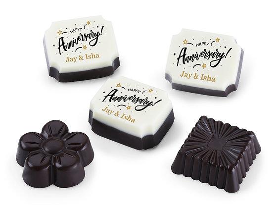 Personalised Anniversary Gift Golden Design Chocolates