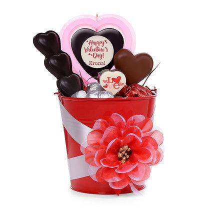 Valentine's Day Gift - Chocolate Bouquet - Red Pot Design