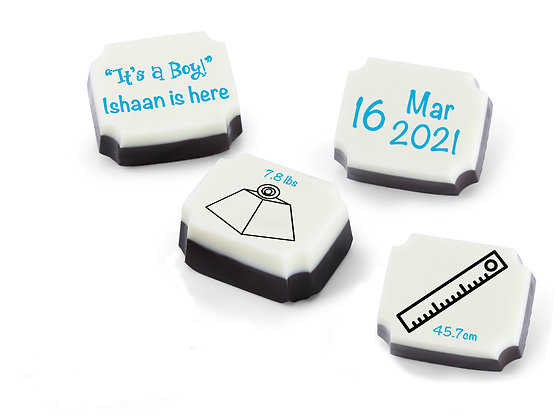 Personalised Baby Boy Announcement Gift - Measurement Design - 12 chocolates
