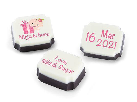 Personalised Baby Girl Announcement Gift - Pop up Design - 9 chocolates