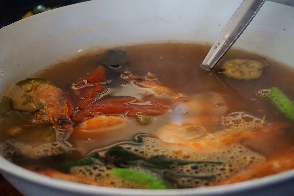 The Sinigang soup with seafood.