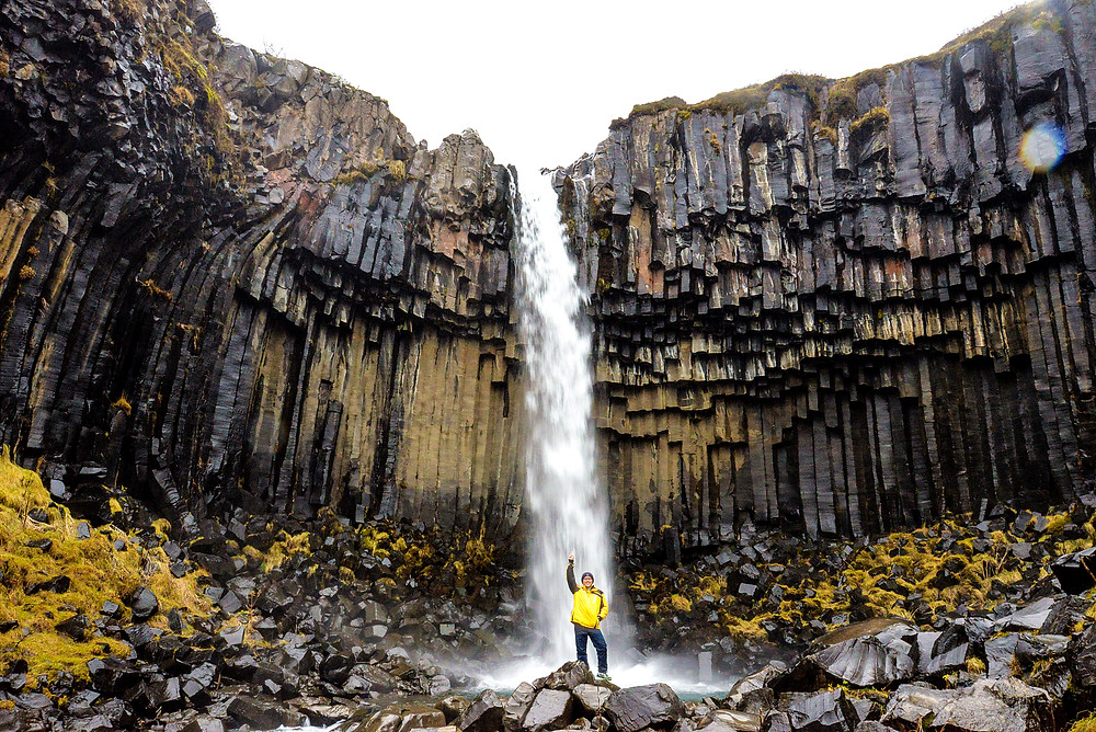 Me with Svartifoss. - Photo credited to Hybrid.