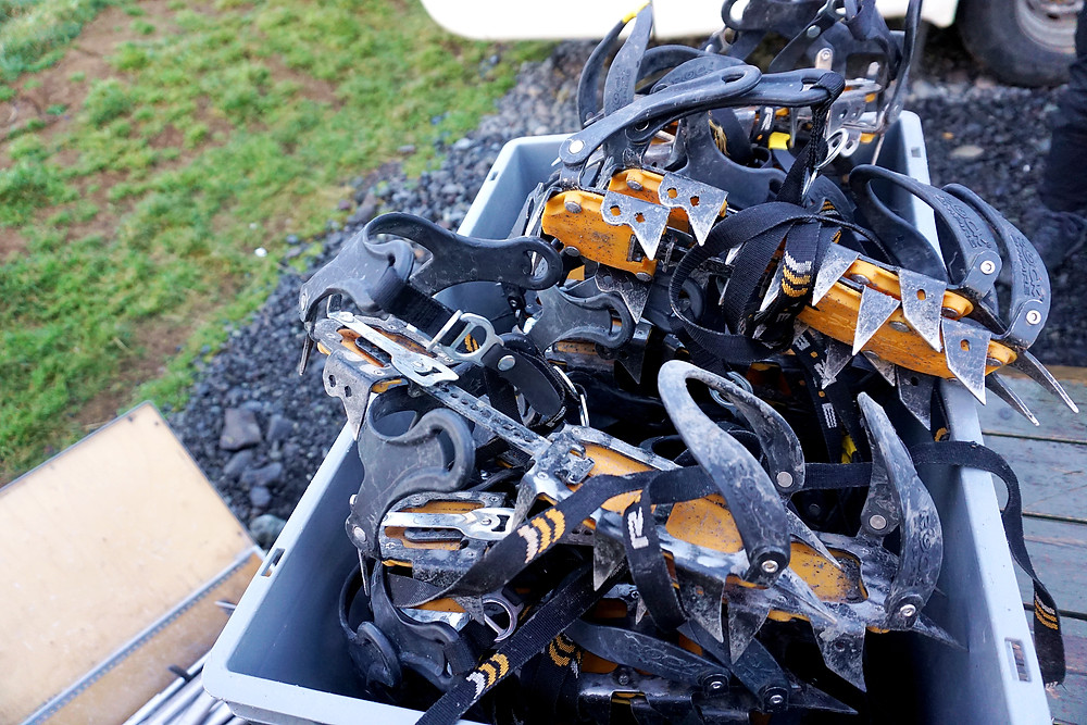 Bucket of ice crampons.