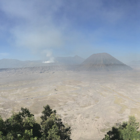 A walk crossing Sea of Sands towards Bromo Crater