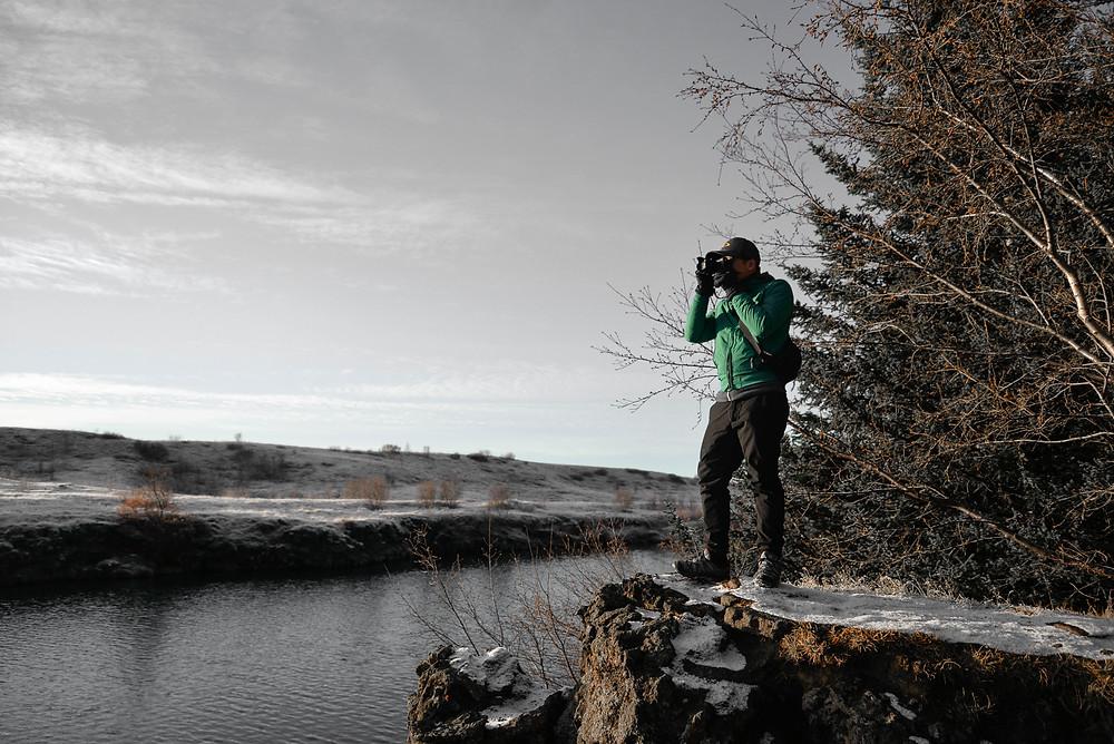 CJ taking photo of beautiful view. - Photo credited to Hybrid.