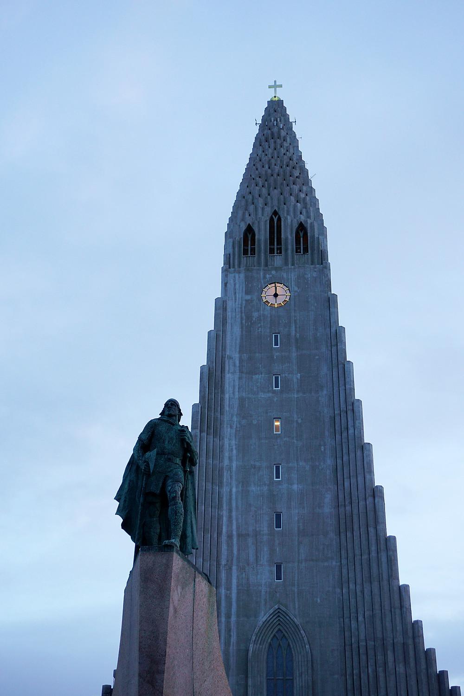 Hallgrímskirkja and the statue of Leif Eriksson.