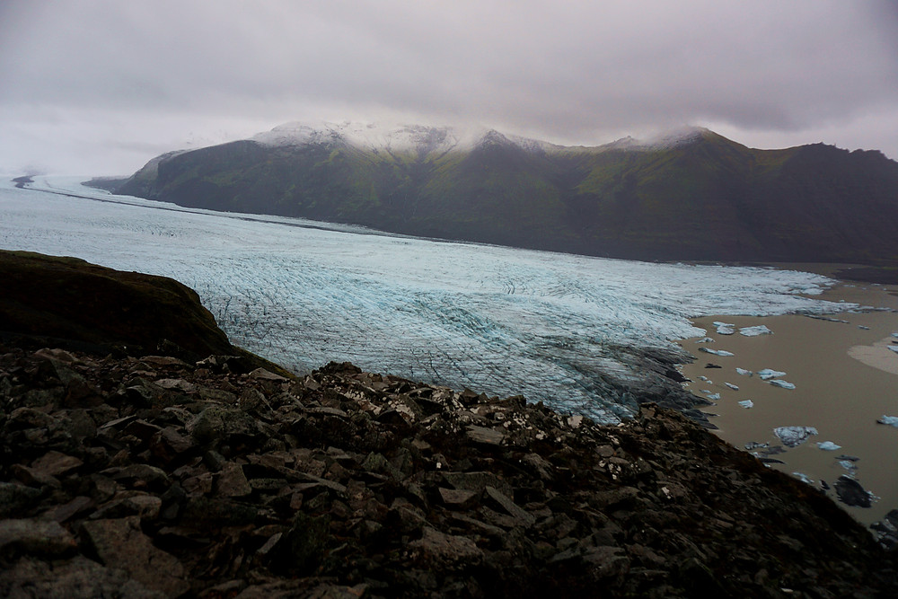 Magnificent view of glacier from Sjónarnípa.