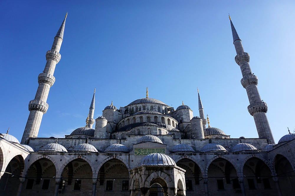 Magnificent exterior of the Blue Mosque.