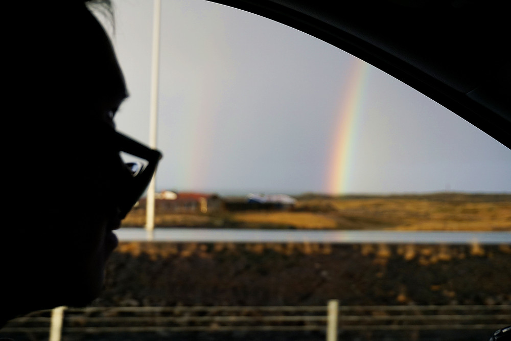 Our driver with double rainbow.
