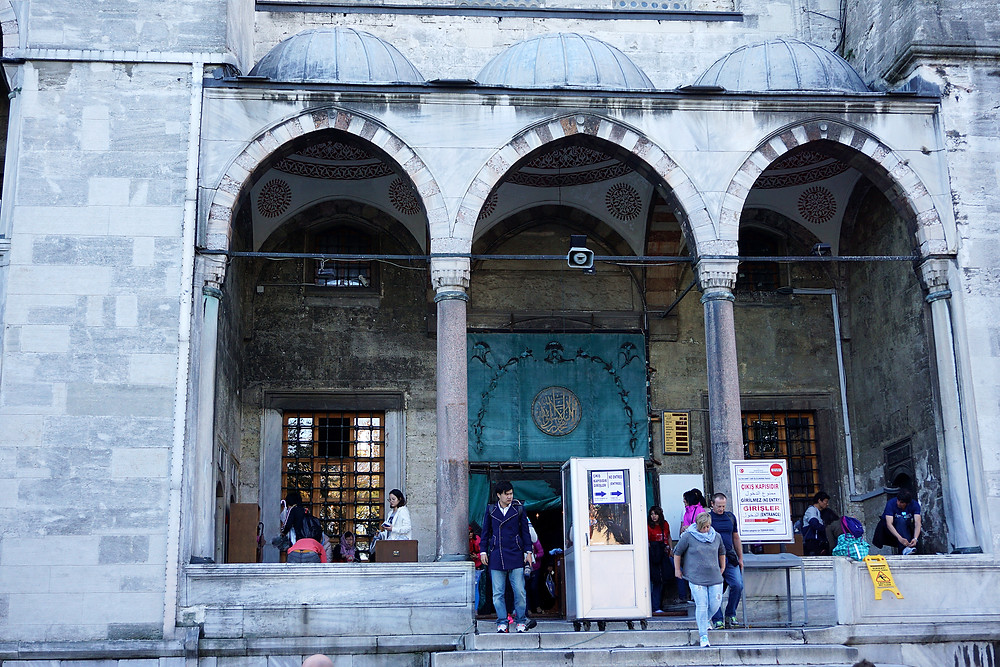 The right side exit after visiting the Blue Mosque interior.
