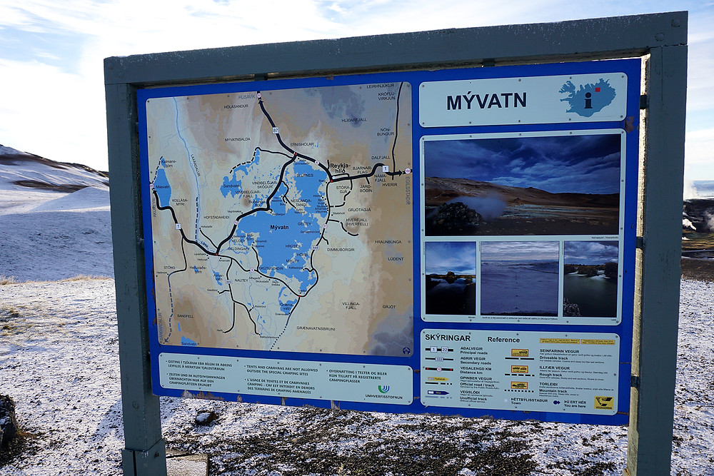 Reference map around Myvatn lake.
