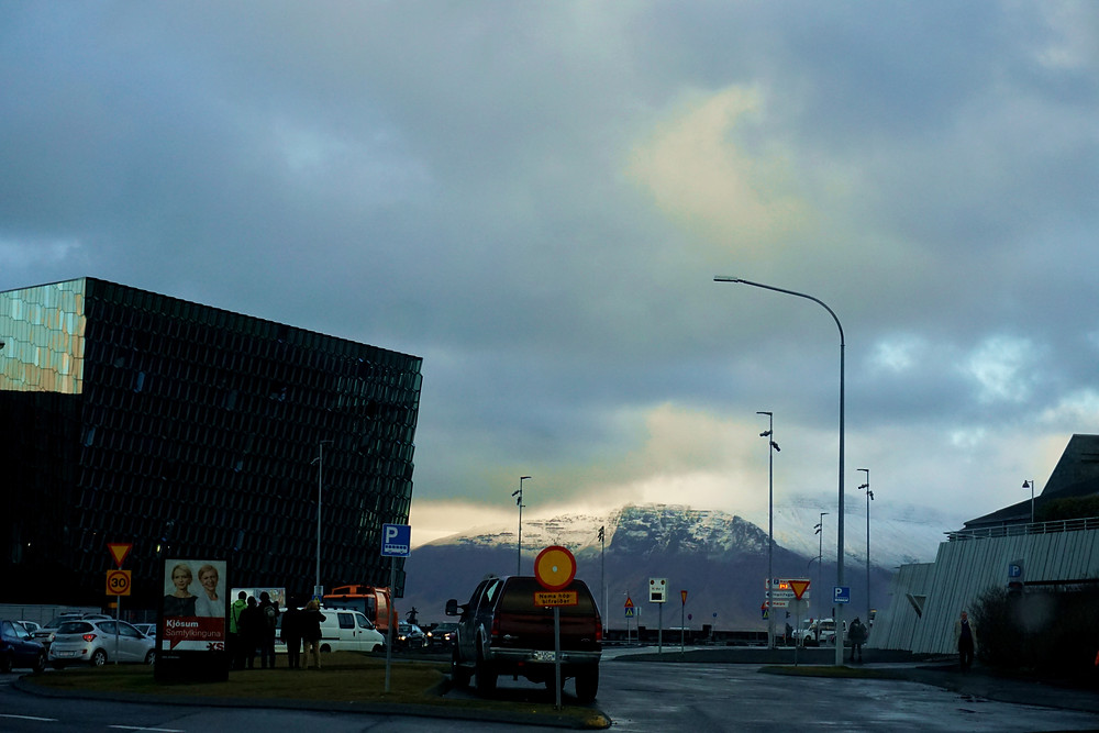 It is the snow mountain that caught our attention, not the Harpa~