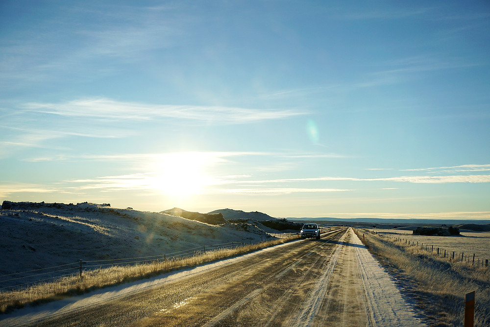 Continue the road trip toward Akureyri.