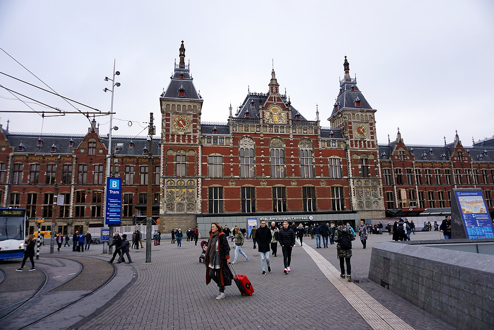 Amsterdam central station, beautiful exterior.