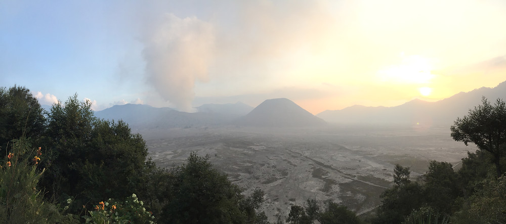 Panorama view towards Mount Bromo prior to sunset.