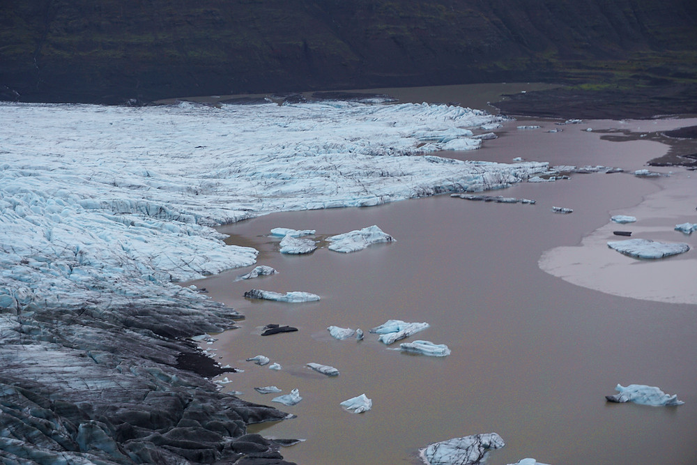 Floating ice on the tail of the glacier.