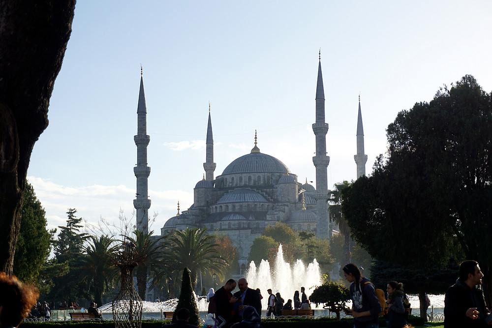 A peak toward Blue Mosque from Sultanahmet square.