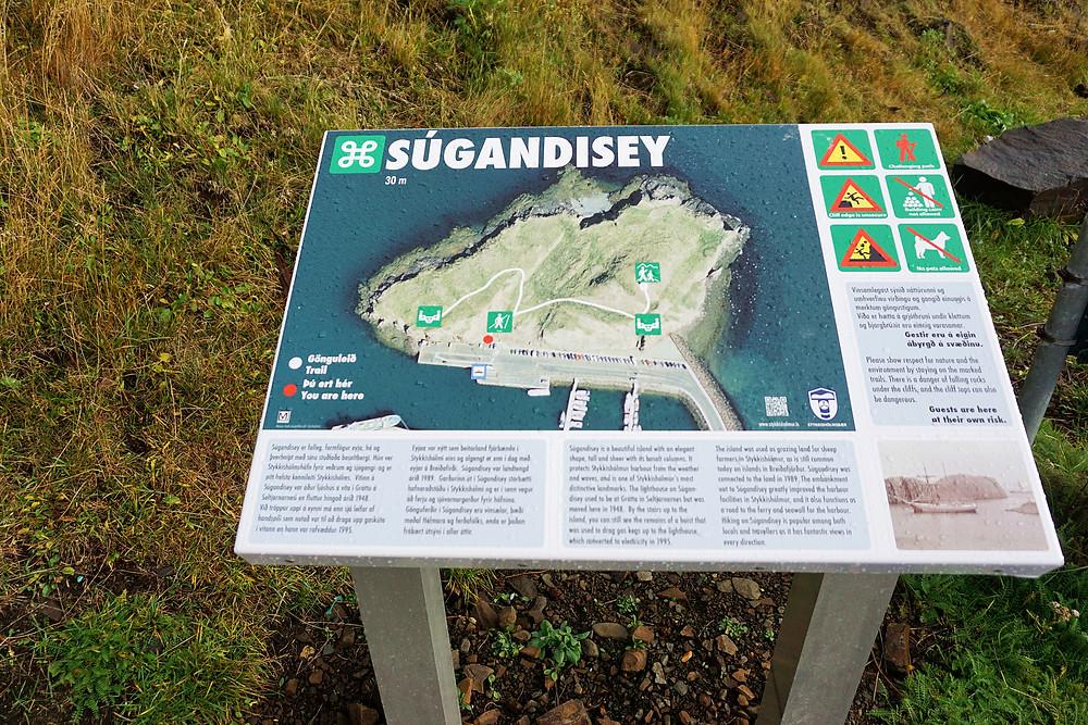Súgandisey signboard.
