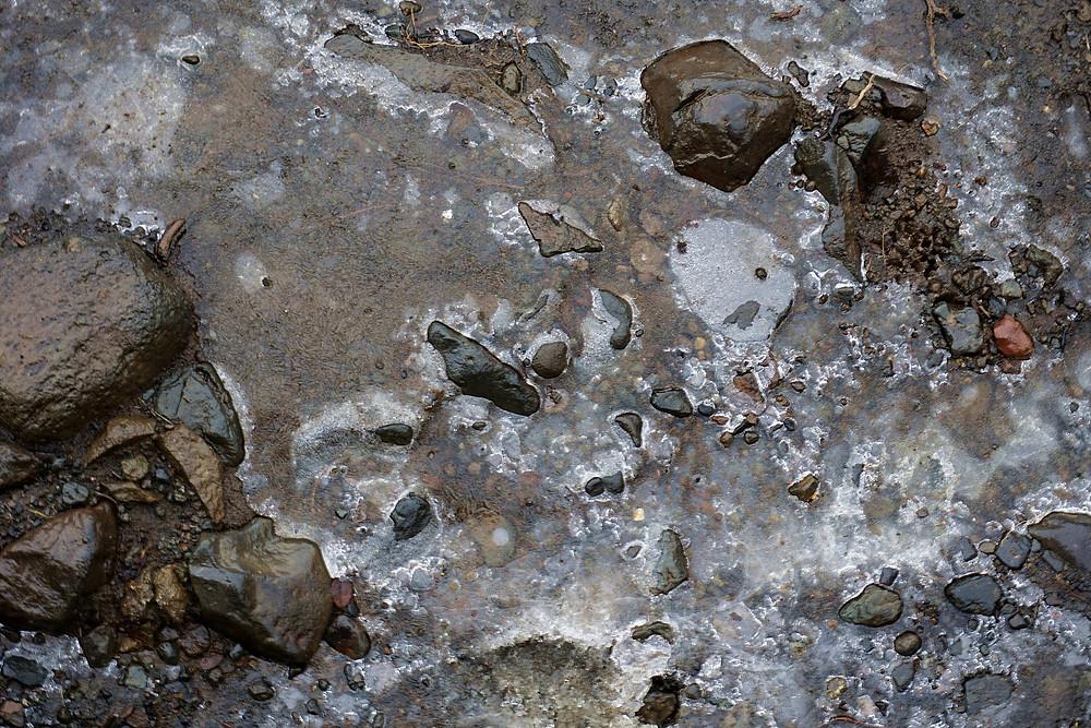 Slippery thin ice on the walk path, be careful.