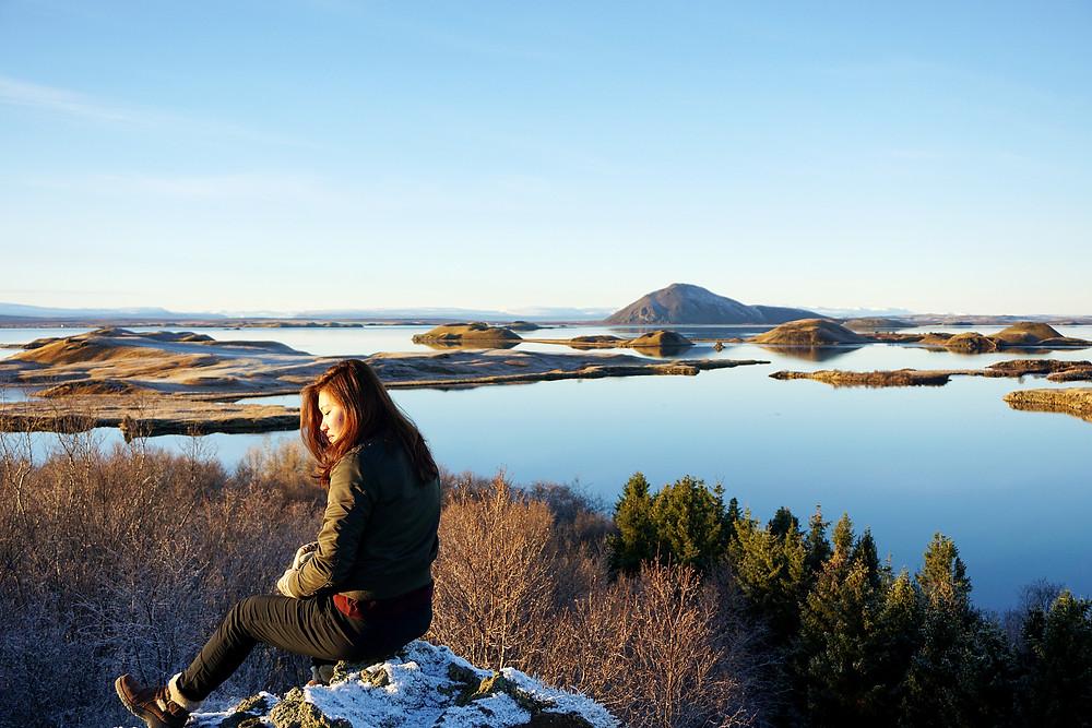 Ying Ying via Myvatn Lake view.