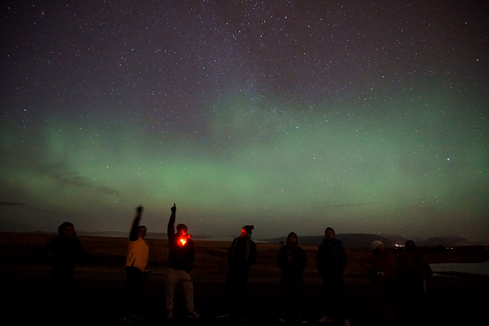 8 of us with the aurora night!