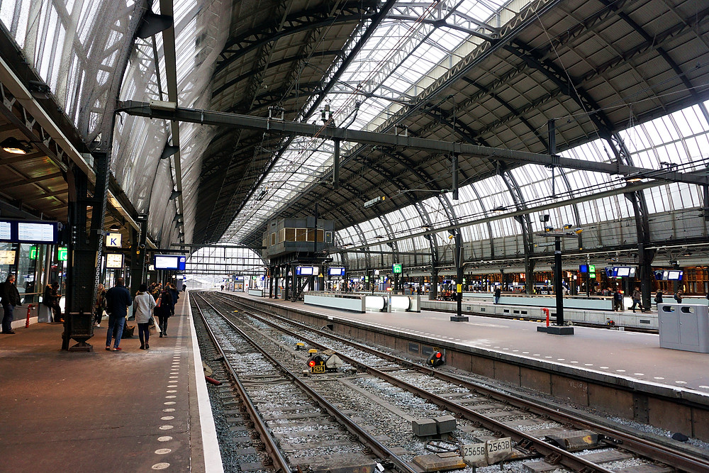 Via Amsterdam Central station.