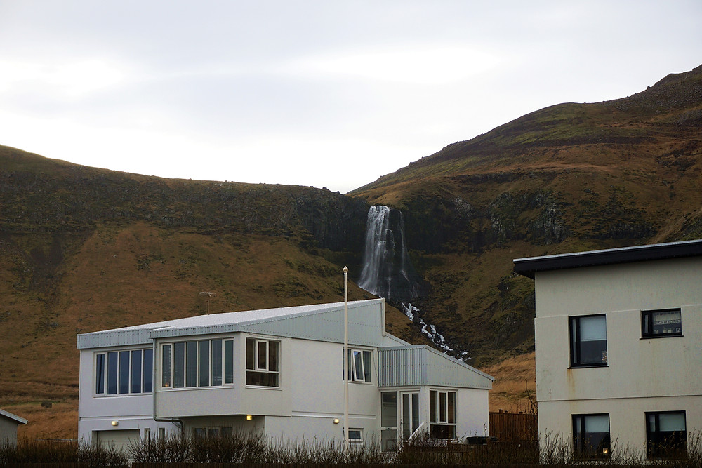Unnamed waterfall at the back of the town.