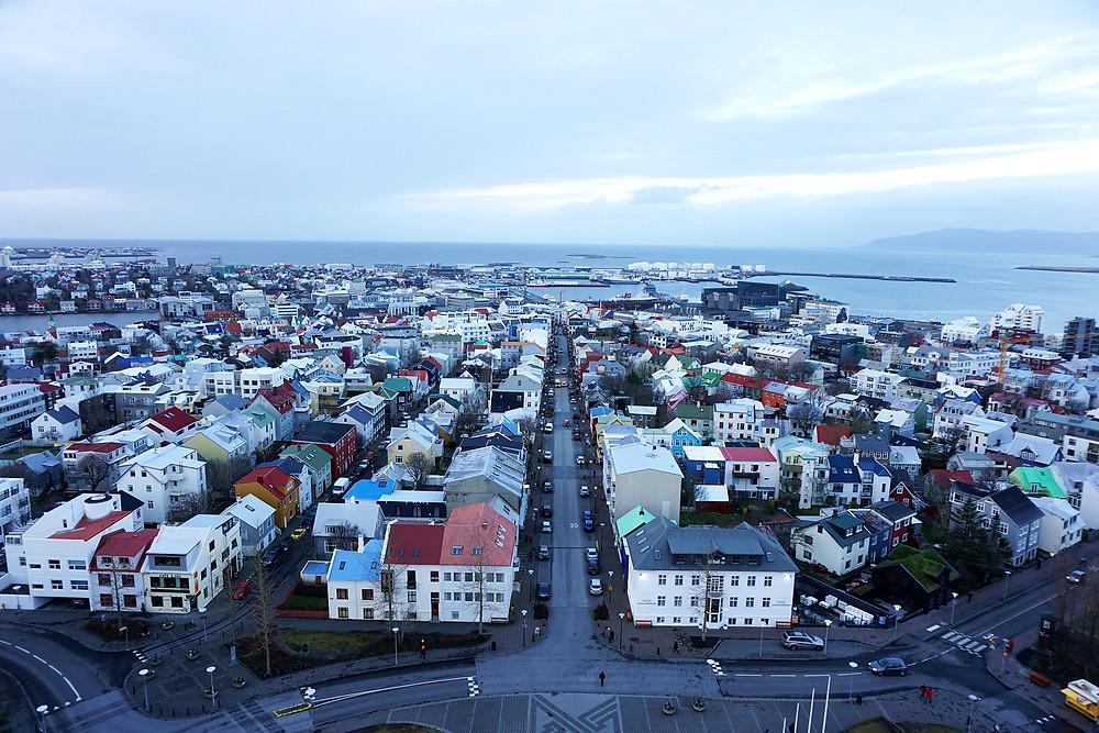Famous view of Reykjavik from Hallgrímskirkja.