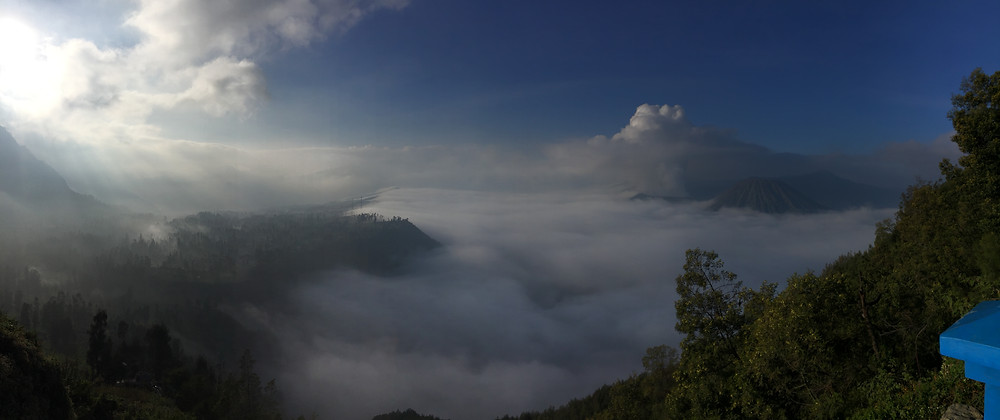 Another panoramic view catching both Cemoro Lawang and Bromo.