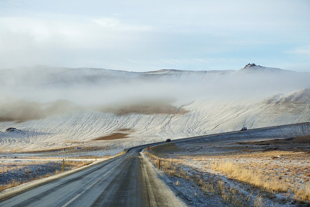 Námafjall mountain covered with mist.