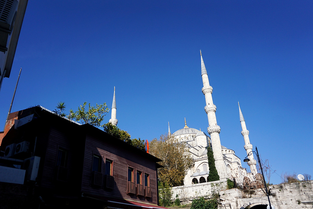 Blue Mosque can be seen from afar during the walk.