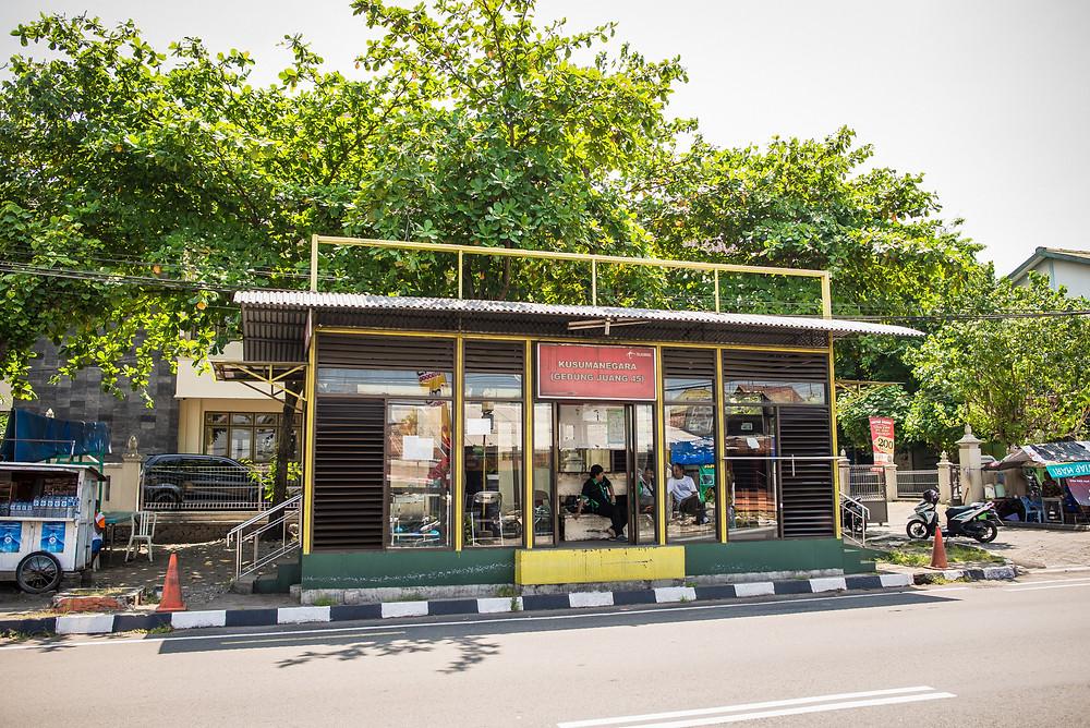 Bus stop in Yogyakarta