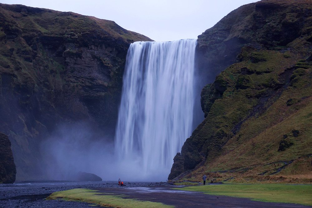 The magnificent Skogafoss from car park.