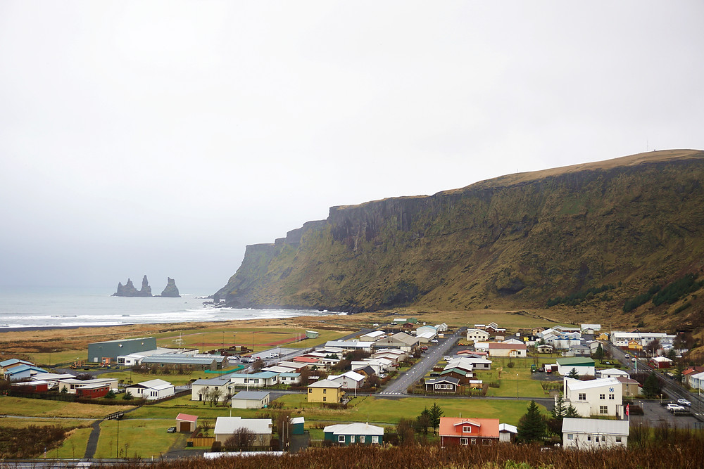 Reynisdrangar and Vik township from the church.