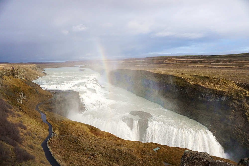 Magnificent Gullfoss and a slight visible rainbow.