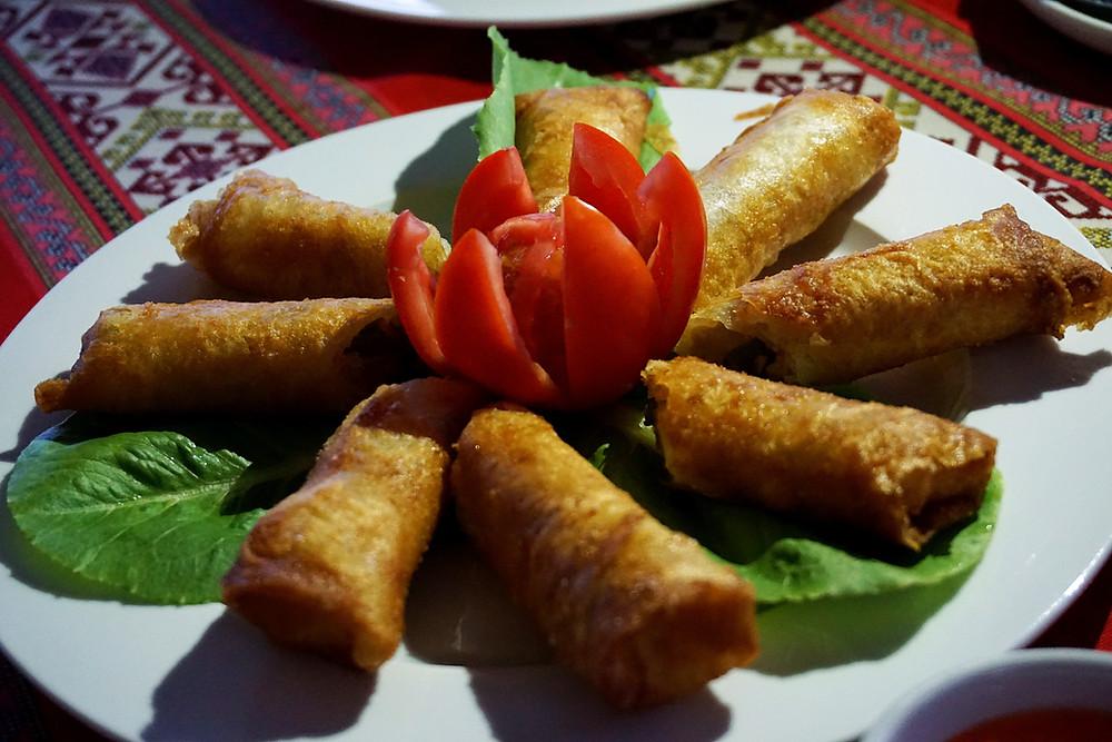 Fried spring rolls.