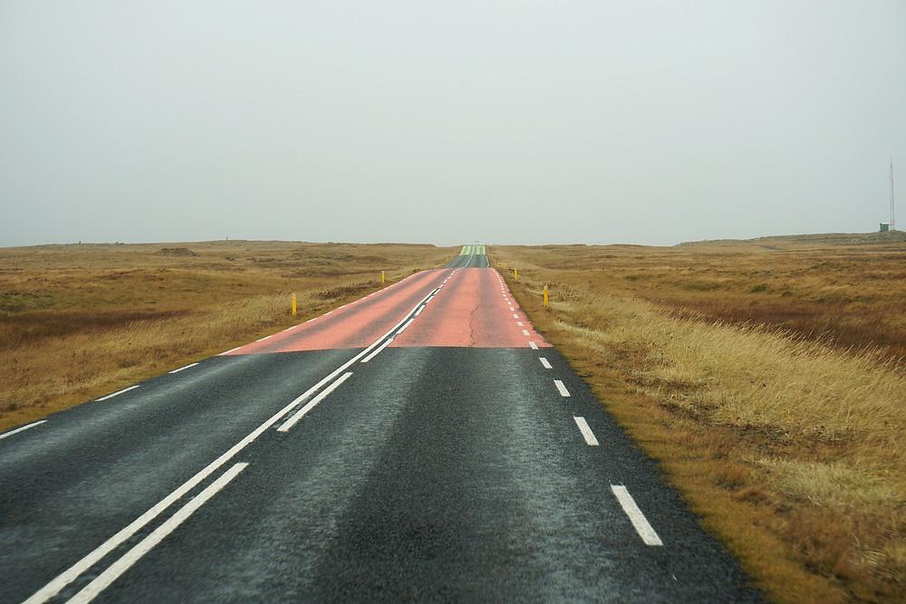 Unique road colored with unknown reason.