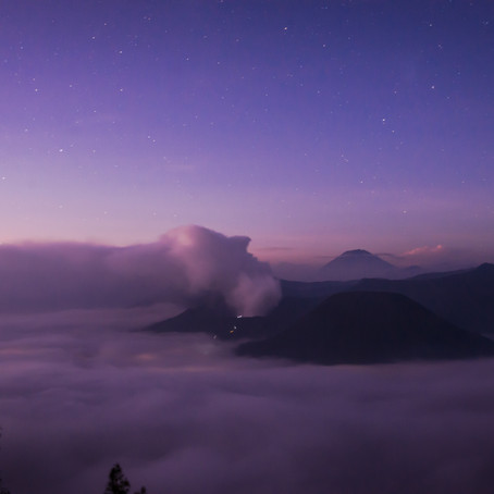 Midnight hike for Bromo sunrise and sea of clouds.