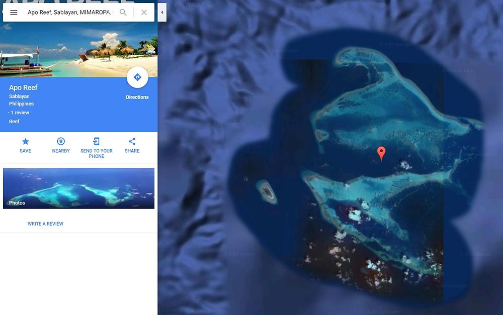 Satellite view of Apo Reef thanks to google!