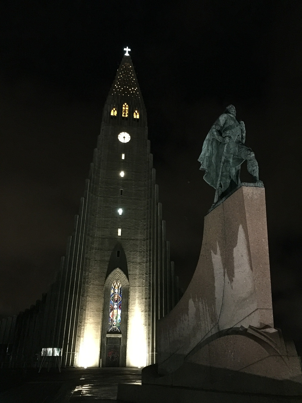 The church with Leif Erikson statue, a great Icelandic explorer.