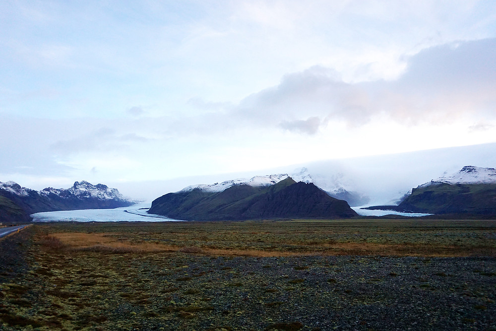 To the left is Skaftafell glaciers, and to the right is Svínafellsjökull Glacier, our destination today.