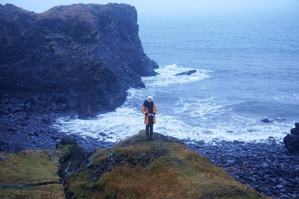 Sue Hui over the scenery near Fjöruhúsið cafe.